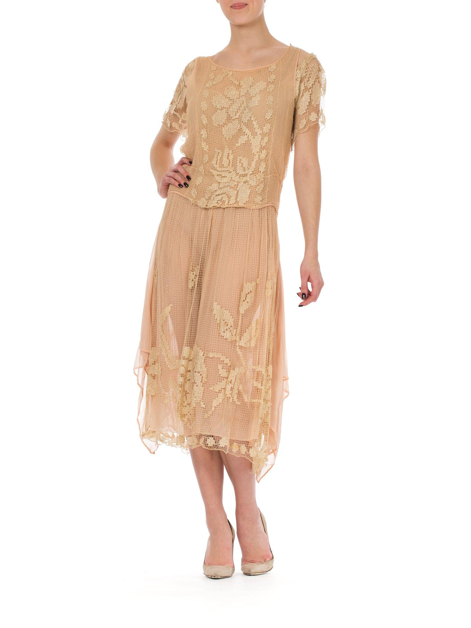 1920s Romantic Filet Lace Silk Dress