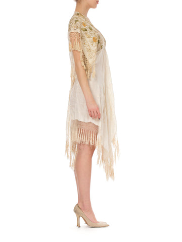 MORPHEW COLLECTION Ivory Silk Gold Floral Embroidered Piano Shawl Fringed Dress