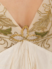 1920s Boho Embroidered Piano Shawl Fringed Dress