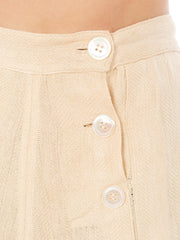 1940s High Waisted Front Buttons Beige Culottes Wrappers Shorts