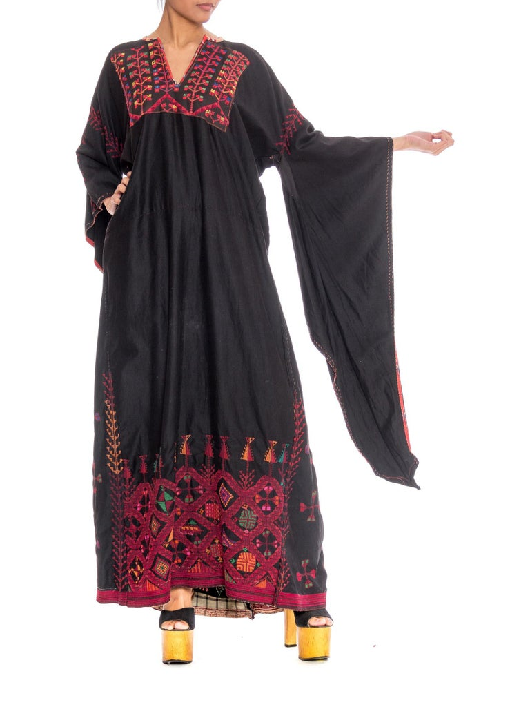 1920S Black Hand Embroidered Cotton Kaftan With Medieval Sleeves