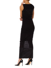 1990s Ozbek Minimalist Black Sleeveless Maxi Dress