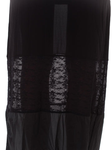 1990S OZBEK Black Sheer Poly/Lycra Minimalist Patchwork Dress