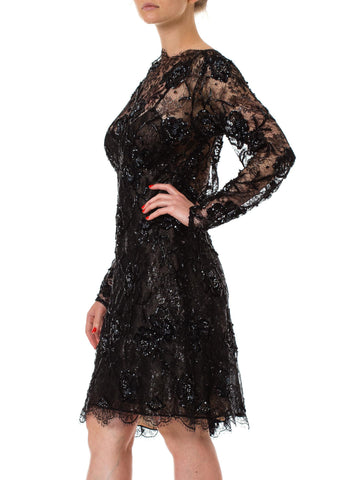 1980S Black Beaded Silk & Lurex Lace Sheer Sleeved Cocktail Dress