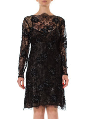 1980s Beaded Black Lace Cutout Back Silk Lining Cocktail Dress