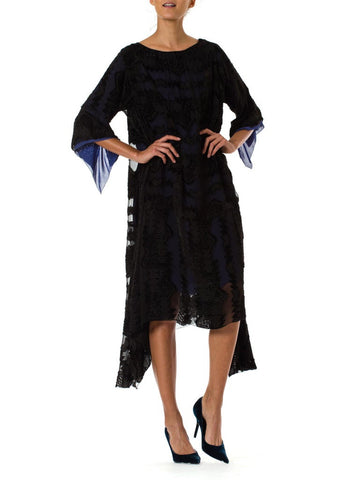 1920S  Black Silk Burnout Velvet & Chiffon Dress Fully Lined In Blue