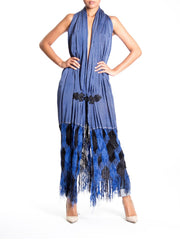 1970S Morphew Collection Cornflower Blue Draped Deep V Gown With Woven Fringe