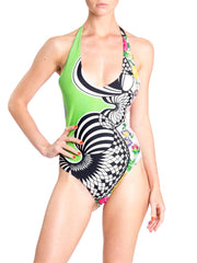 1990s Versus Gianni Versace Deadstock  Green Abstract Floral Print  One Piece Swimsuit
