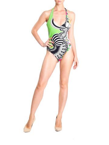 1990S Gianni Versace Neon Green Versus Deadstock Abstract Floral One Piece Swimsuit Nwt