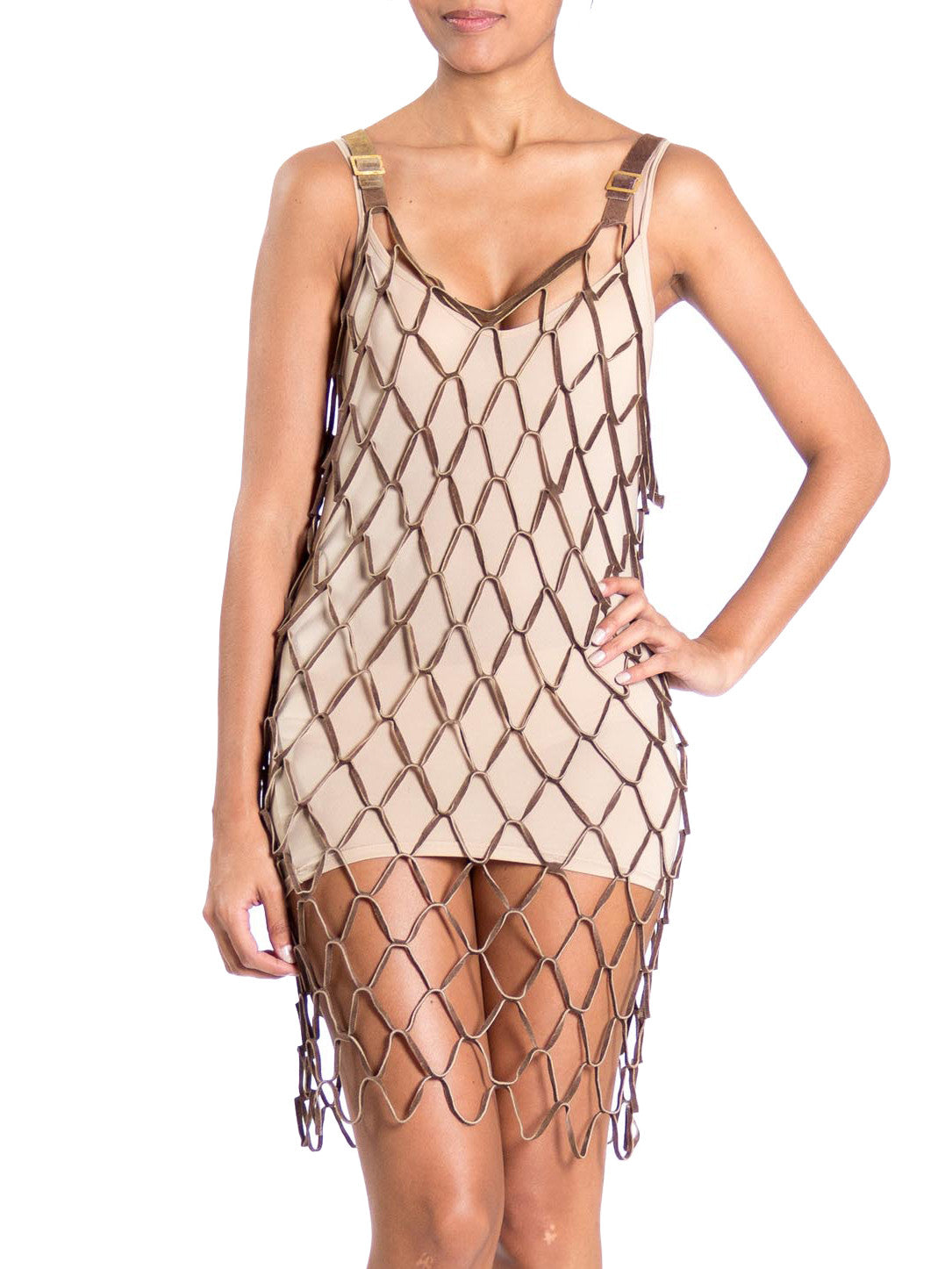 1990s Leather Open Weave Chainmail Buckle Strap Mini Dress