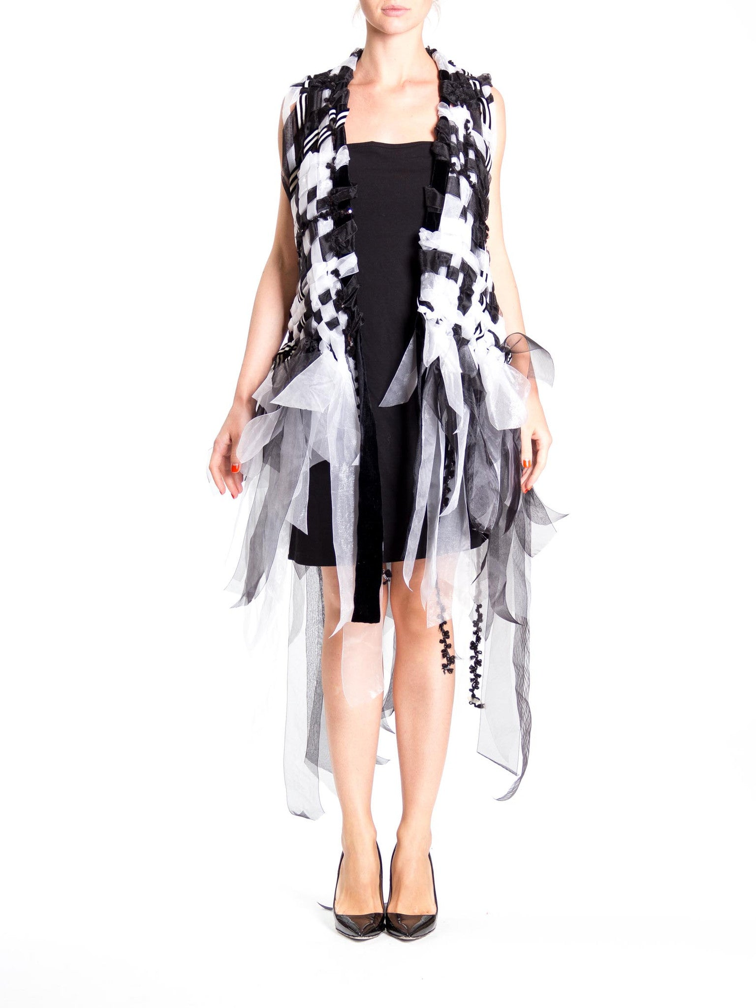MORPHEW COLLECTION Black & White Hand Woven Ribbon  Vest With Fringe