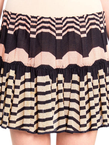 2000S MISSONI Peach & Gold Rayon Lurex Zig Zag Pleated Knit Mini Skirt