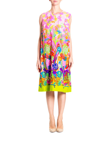 1960S Neon Cotton Barkcloth Psychedelic Rainforest Print Shift Dress