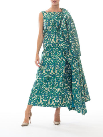 1960S Blue & Green Gold Lamé Rayon/Lurex Brocade Gown With Matching Evening Coat