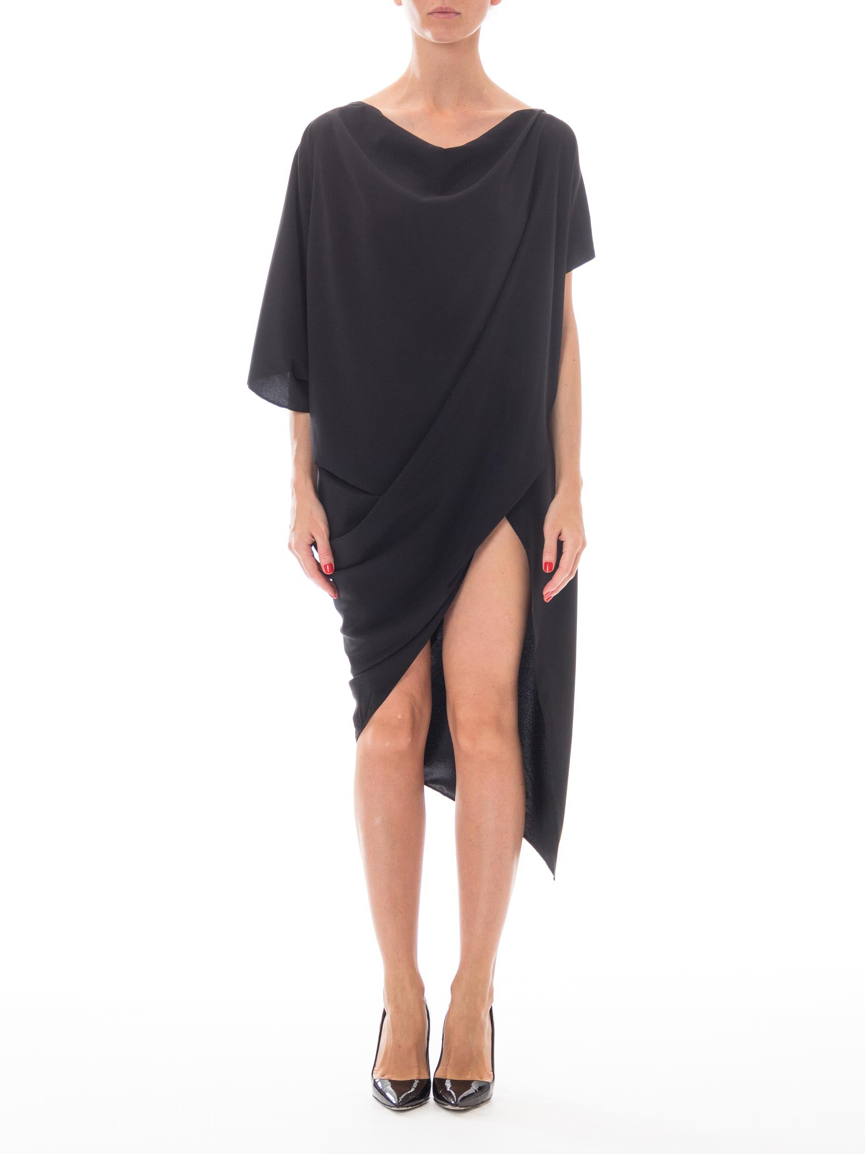 Morphew Lab Original Design Avant-Garde 1990s Style Black Silk Charmeause Draped Minimalist Dress w/ Asymmetrical Hem