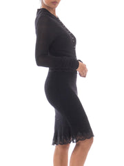 1990s John Galliano Black Ribbed Stretch Knit Dress & Matching Sweater with Lace Trim