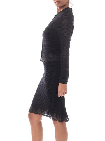 1990S JOHN GALLIANO Black Wool Blend Knit Slip Dress With Matching Cardigan