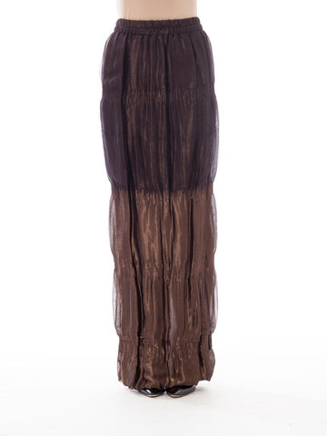 1980S Catherine Bacon Dream Weaver Lame/Chiffon Double Woven Lame & Chiffon Bronze Metallic Maxi Skirt