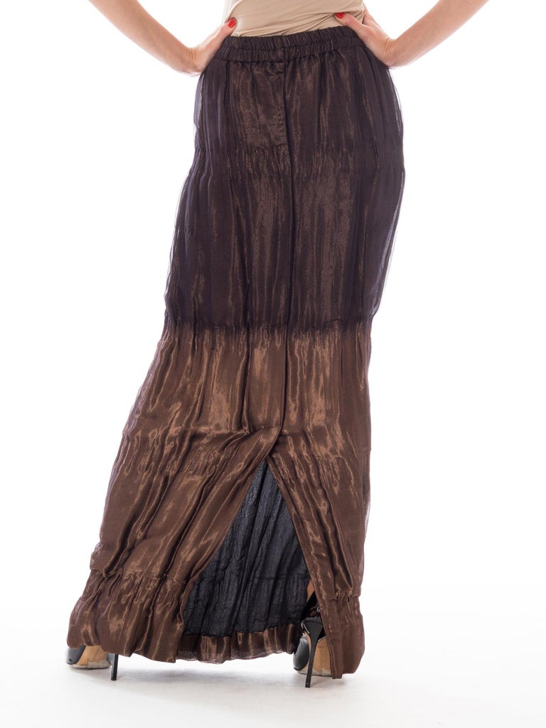 1980S Metallic Bronze Silk Blend Double Woven Lamé & Chiffon Maxi Skirt