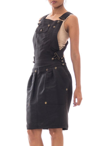 1990S Gianfranco Ferre Black Rayon Blend Overall Styled Dress With Antique Brass Studs