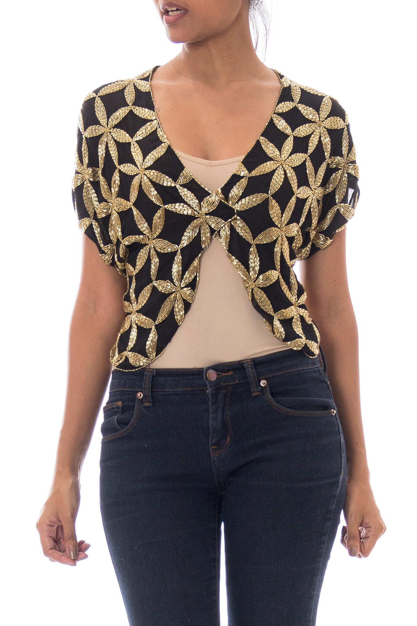 1980s Chiffon Gold Beaded Backless Tied Crop Top