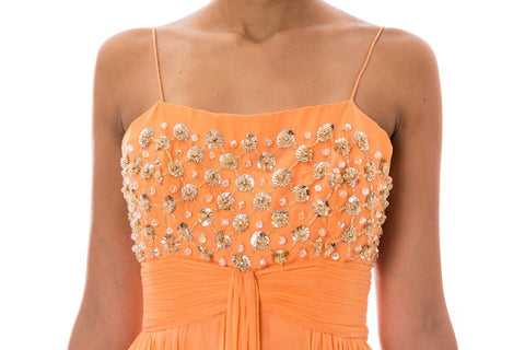 1970S Orange Beaded Draped Gown