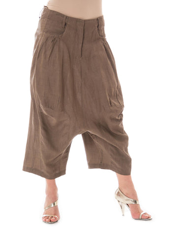 1980s Marithe Francois Girbaud Linen Drop Crotch Pants