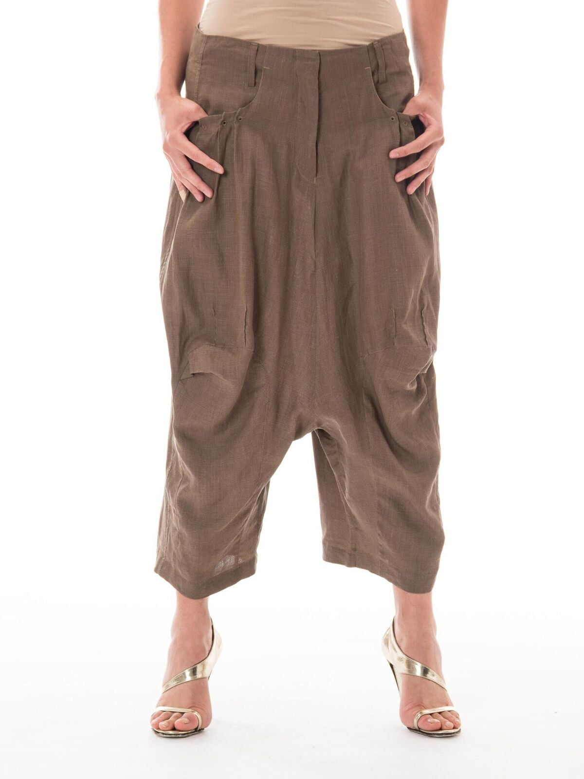 1980S MARITHE + FRANCOIS GIRBAUD Brown Linen Blend Pants