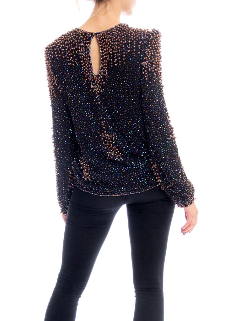 1980S Black Rayon Chiffon Hand Beaded Long Sleeve Blouse With Copper Pearls
