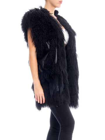 1980S Jona Black Fur & Leather Vest Jacket