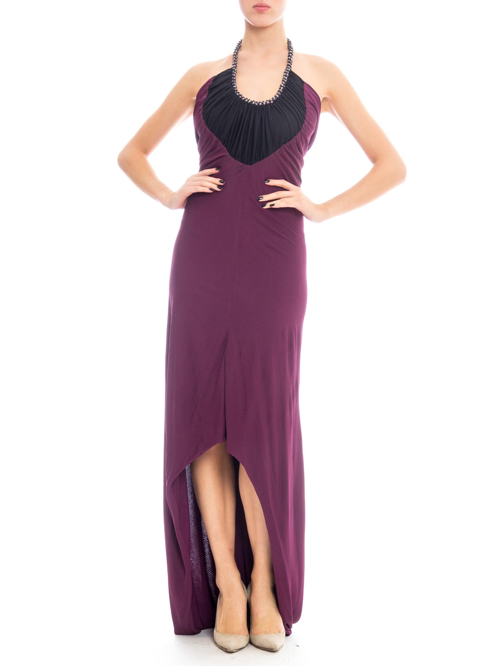 1970S LORIS AZZARO Black & Purple Viscose Jersey Slinky Disco Trained Gown