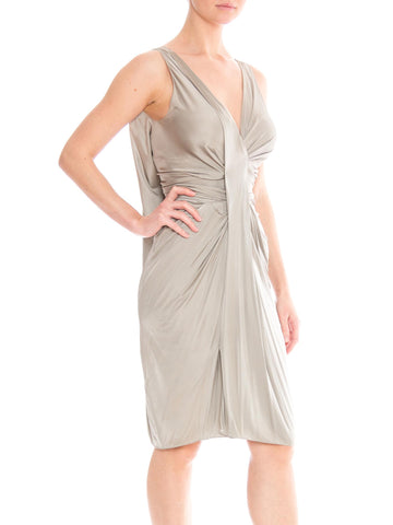 2000S CHRISTIAN DIOR Style Oyster Grey Rayon Jersey Twisted & Draped Cocktail Dress