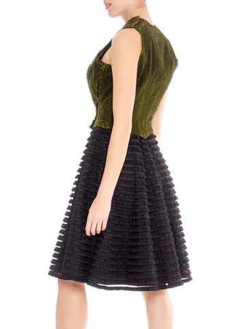 Morphew Collection Black & Green Silk Cotton Velvet Dress With Ruffled Tulle Skirt