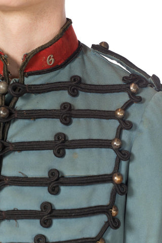 Victorian Dusty Blue Wool Authentic 1870S French Military Jacket With Silver Buttons And Black Metal Braiding