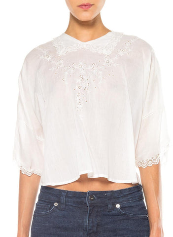 1910's Cotton Embroidered Top with Collar