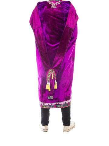 1970S Purple Velvet Antique Ethnic Embroidered Cape With Ikat Trim