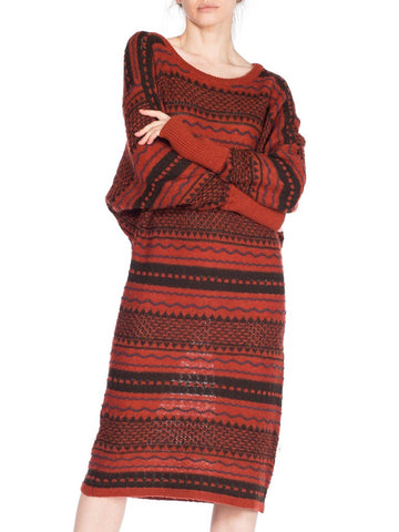 1970S Issey Miyake Red Striped Wool Knit Sweater Dress