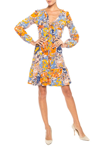 1960S Polyester Asian Print Long Sleeve  Dress