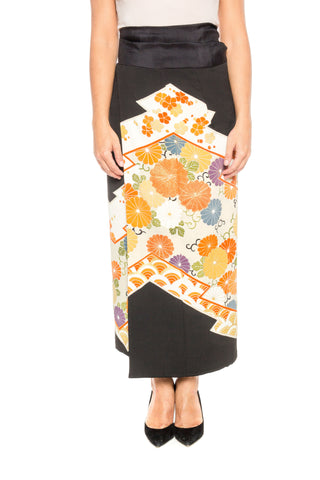 1950S Silk Wrap Skirt Made From A Kimono With Flowers