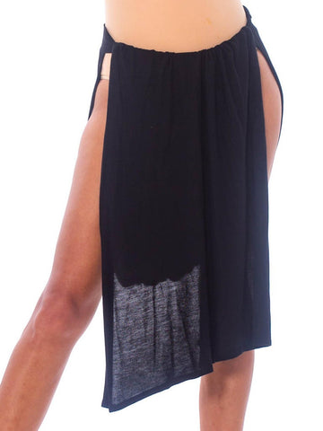 1990S JEAN PAUL GAULTIER Black Cotton Knit Sarong Skirt