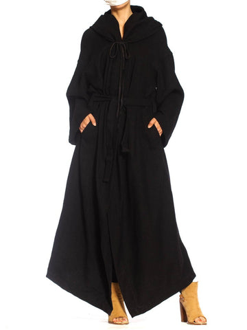 1990S Ann Demeulemeester Black Wool Robe Coat