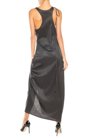 1990S JEAN PAUL GAULTIER Brown Waxed Polyester Jersey Asymmetrical Tank Dress With Adjustable Slit