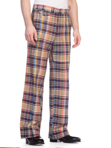 1960S Stanley Blacker Cotton Plaid Pants