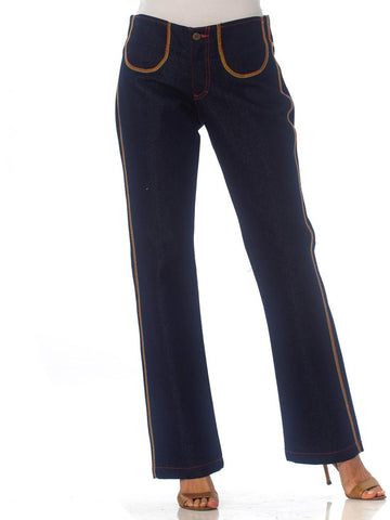 1970S Palmieri Cotton Dark Denim  Jeans With Multicolor Topstitching