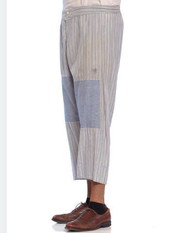 Victorian Blue & White Striped Organic Cotton Men's Patchwork Long Underwear Pants