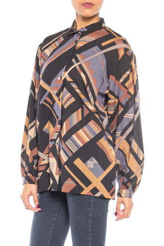 1960S Jaeger Wool Geometric Button-Up Shirt