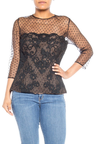 1980S Polyester Victor Costa Black Lace Top