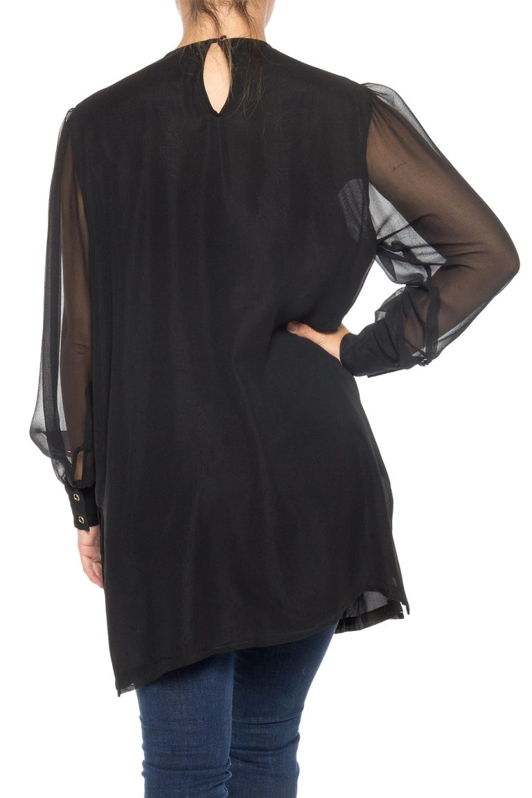 1980S DIANE FREIS Black Beaded Silk Chiffon Cocktail Tunic Blouse With Sheer Sleeves