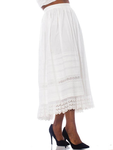 1900S White Organic Cotton Eyelet Lace Straight Cut & Pin-Tucked Skirt