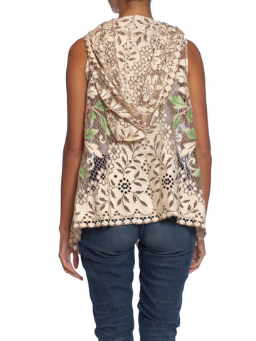 MORPHEW COLLECTION Ecru Cotton Lace Boho Hooded  Vest With Hand Painted Highlights